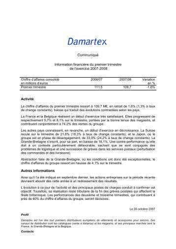 Chiffre d'affaires 1er trimestre exercice 2007/2008 - Damartex