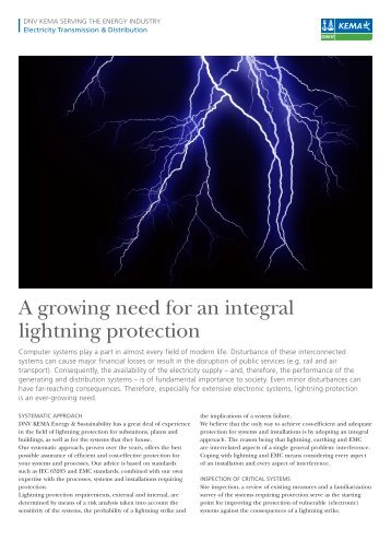 A growing need for an integral lightning protection - DNV Kema