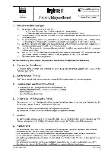 Wettbewerbsreglement 2010 mit neuem BBZ Logo - beim Verband ...