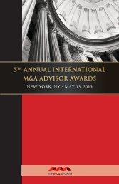 5th annual international m&a advisor awards - Maadvisor.net