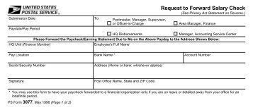 PS Form 3077, Request to Forward Salary Check - branch 38