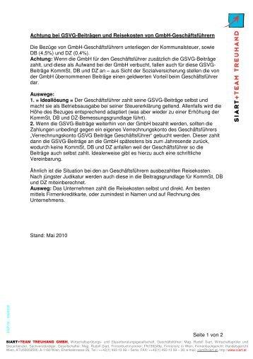Reisekosten und GSVG- Beiträge bei Geschäftsführern