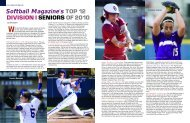 DIVISION I SENIORS OF 2010 Softball Magazine's TOP 12
