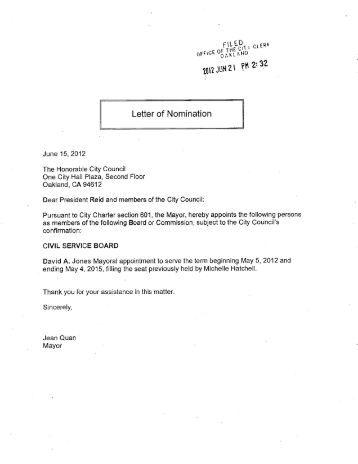 Board Member Nomination Letter Sample