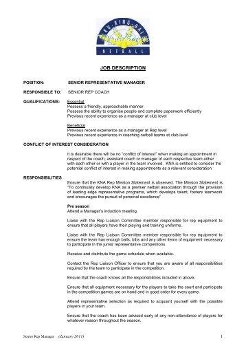 SHIFT MANAGER/ZAMBONI DRIVER JOB DESCRIPTION ...