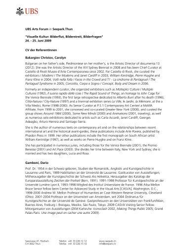 CV der Referentinnen und Referenten - Wolfsberg