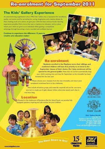 Re-enrolment for September 2011 - Kids' Gallery