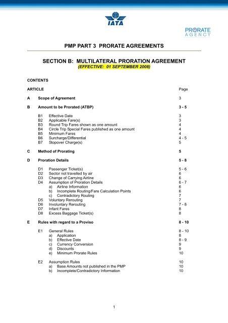 Multilateral Proration Agreement Iata