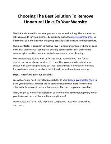 Choosing The Best Solution To Remove Unnatural Links To Your Website