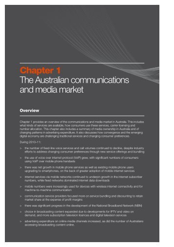 Chapter 1 The Australian communications and media market - ACMA