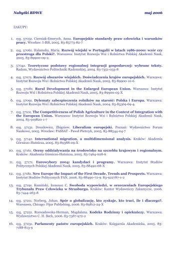 Nabytki BDWE maj 2006 - Centrum Informacji Europejskiej