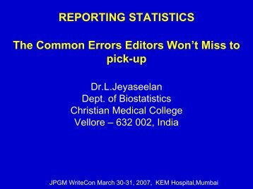 REPORTING STATISTICS The Common Errors Editors Won't Miss to ...