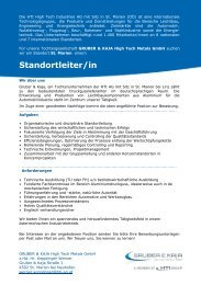 Standortleiter/in - HTI - High Tech Industries AG