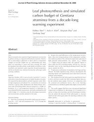 Leaf photosynthesis and simulated carbon budget of Gentiana ...