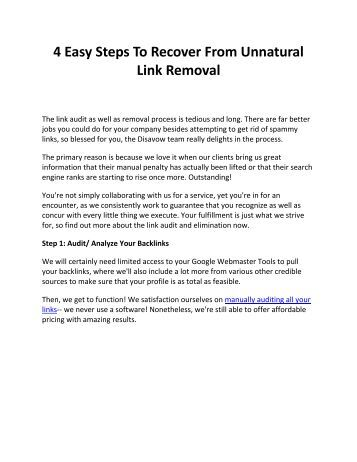4 Easy Steps To Recover From Unnatural Link Removal