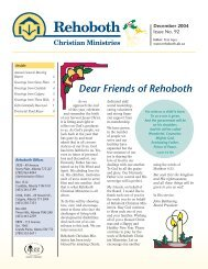 Dear Friends of Rehoboth - Rehoboth Christian Ministries