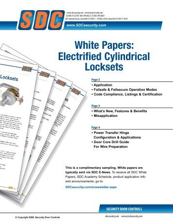White Papers: Electrified Cylindrical Locksets - SDC Security Door ...