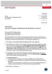 Information über den Umgang mit Bodenaushub (Erdaushub, Humus)