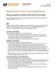 Magisterprogram i hälsa och vård, 60 hp - Mälardalens högskola