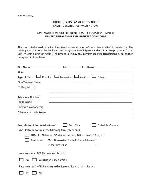 AD60A - ECF Limited Filer Registration Form pdf - Eastern