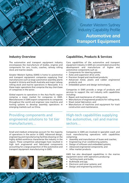Automotive And Transport Equipment - RDA Sydney