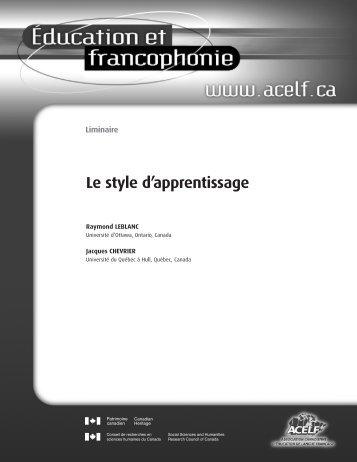 Liminaire », Éducation et francophonie, vol. XXVIII, n o 1 ... - acelf