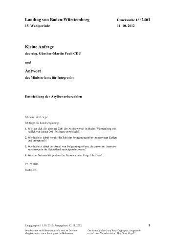 Entwicklung der Asylbewerberzahlen - Günther-Martin Pauli MdL