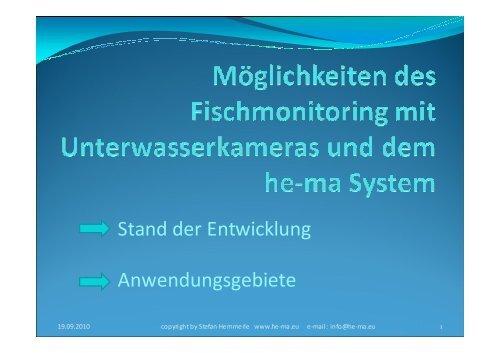 Einsatz von Beobachtungskameras zum Monitoring ... - Wanderfische