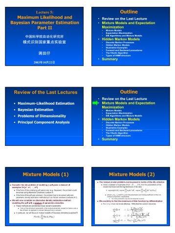 Mixture Models - 模式识别国家重点实验室 - 中国科学院自动化研究所