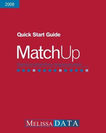 MatchUp Quick Start Guide - Melissa Data