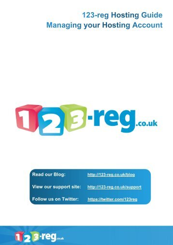 123-reg Hosting Guide - Managing your Hosting Account