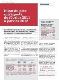 Bilan du prix intraquota de février 2011 à janvier 2012