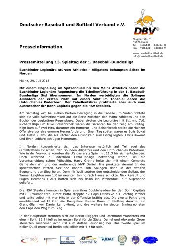 Deutscher Baseball und Softball Verband e.V. Presseinformation