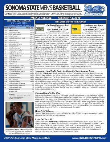 weekly release • february 3, 2010 - Sonoma State University Athletics