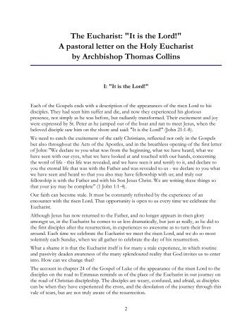 Collins Pastoral Letter The Eucharist Formatted - Archdiocese of ...