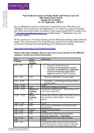 Post Graduate Courses in Public Health and Primary Care and MSc ...
