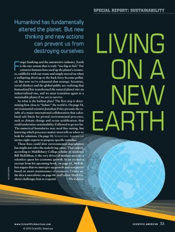 Special Report: Living on a New Earth