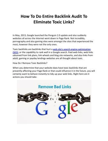 How To Do Entire Backlink Audit To Eliminate Toxic Links?