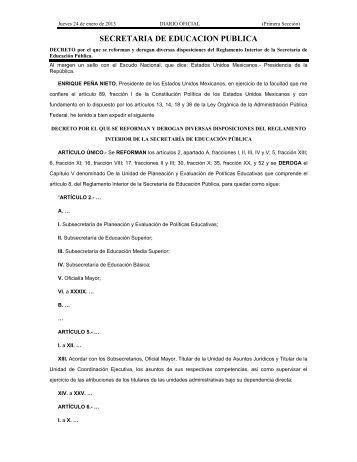 Decreto por el que se reforman y derogan diversas disposiciones ...