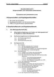 I Körperschaften und Kapitalgesellschaften II Gesellschaftsrecht und ...
