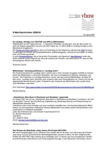 E-Mail-Nachrichten 2008/04 - Verband der Bibliotheken des Landes ...