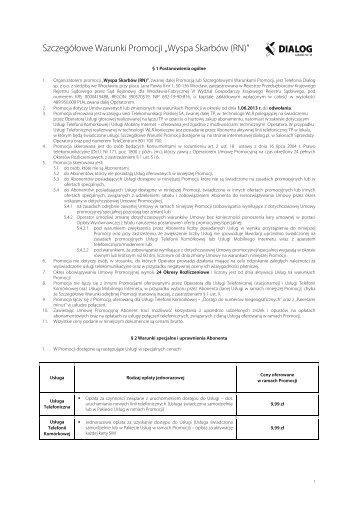 """Szczegółowe Warunki Promocji """"Wyspa Skarbów (RN)"""" - Dialog"""