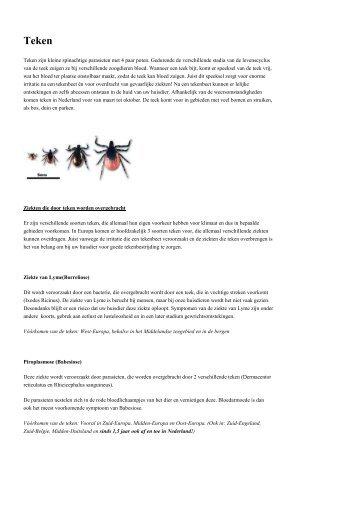 Teken zijn kleine spinachtige parasieten met 4 paar poten ...