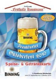 Speise– & Getränkekarte - Frankfurter Oktoberfest 2013