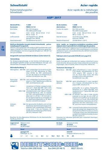 D 18 Schnellstahl Acier rapide ASP® 2017