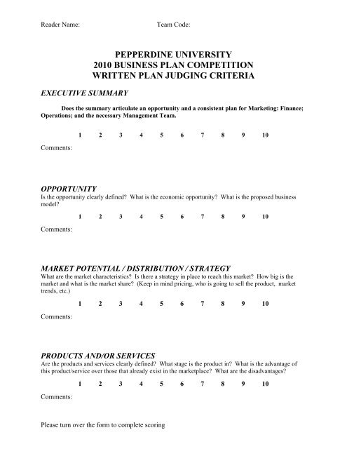 business plan competition judging criteria