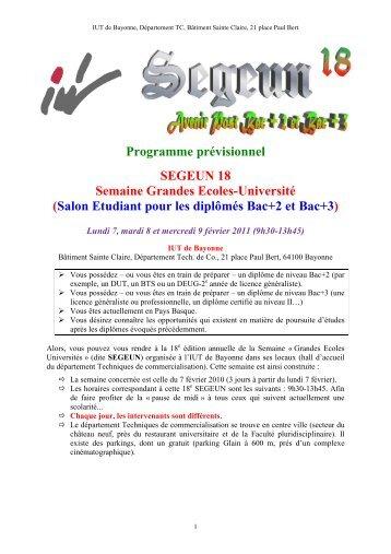 Programme prévisionnel SEGEUN 18 Semaine ... - IUT Bayonne