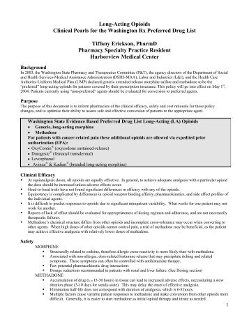 Long-Acting Opioids Clinical Pearls for the ... - Aeholland.com