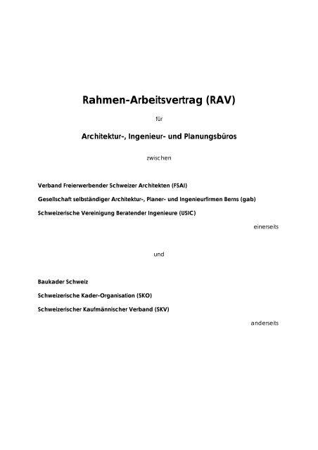 Rahmen Arbeitsvertrag Rav Für Architektur Ingenieur Und
