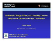 Learning Curves - Electricity Policy Research Group - University of ...